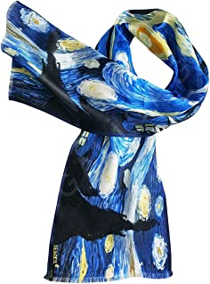Women's SILK Scarf 100% Pure Luxury Lightweight Long Scarf - Starry Night Painting by Van Gogh, Art on Silk Collection 10....