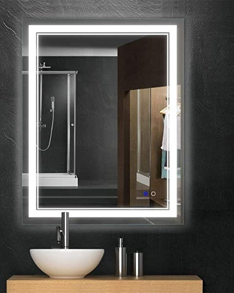 Keonjinn 36 X 28 Bathroom Mirror Anti Fog Wall Mounted Makeup Mirror With LED Light Over Vanity Vertical