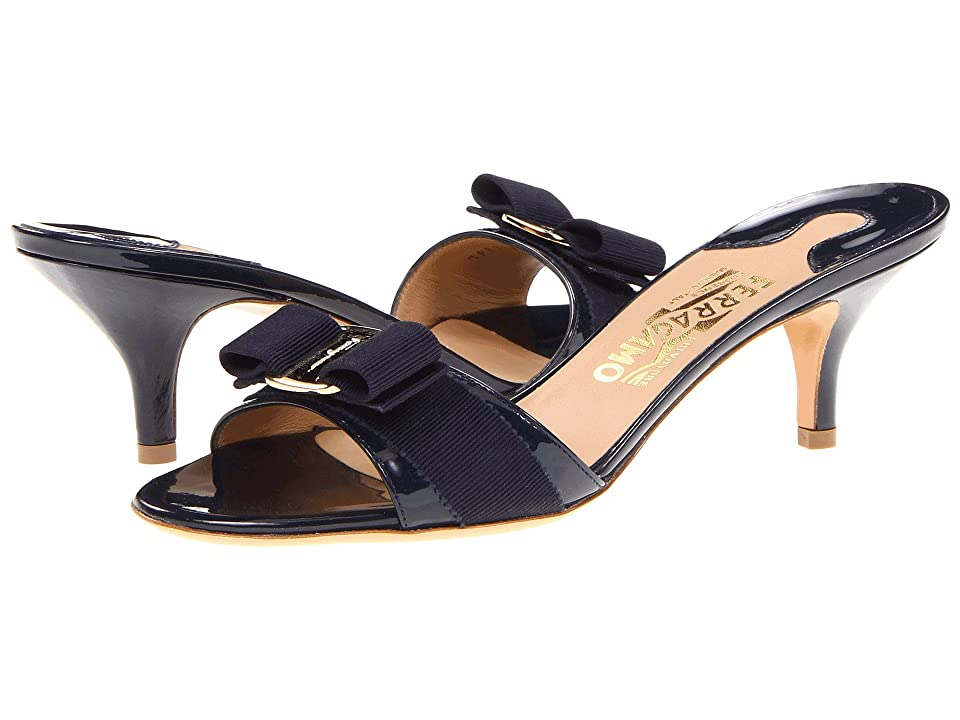 Salvatore Ferragamo Patent Leather Kitten Heel Sandal (Oxford Blue Patent) Women