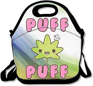 Hoeless Puff Puff Marihuana Kawaii - Bolsa de almuerzo con cremallera, asa de transporte y correa de hombro para adultos o niños, color negro