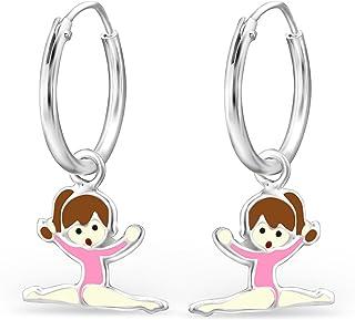 JAYARE - Orecchini da bambina a forma di ballerina, in argento Sterling 925, colore: rosa