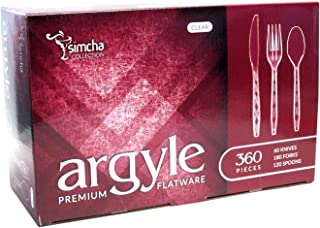 Argyle Clear Disposable Plastic Silverware, 180 Forks, 120 Spoons & 60 Knives Set, 360 Pack