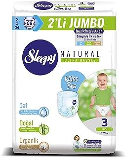 Sleepy Natural 2'li Jumbo Külot Bez, 3 Beden, Midi, 68 Adet
