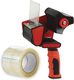 Packing Tape Handheld Dispenser, with 2 Free Rolls of Packaging Tape, 2-Inch-Wide 55-Yard-Long - Easy To Tape Boxes, Seal Cartons, Easy Side Loading, Excellent Tape Dispenser for Shipping, Packaging