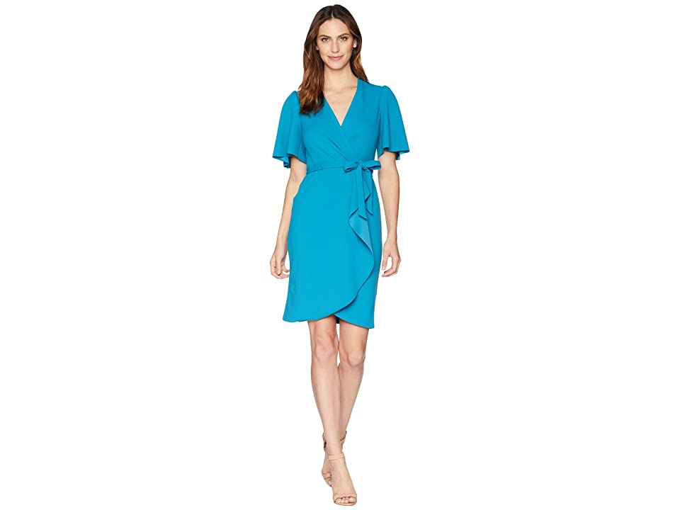 Donna Morgan Faux Wrap Kimono Sleeve Crepe Dress (Midnight Teal) Women