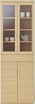 フナモコ 国産 完成品 食器棚 スマートキッチン 幅60.2×奥44.5×高180cm エリーゼアッシュ SKA-60K