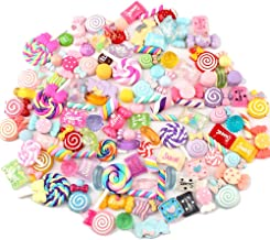 Slime Charms Set,Fashionclubs 100 Pieces Assorted Candy Sweets Resin Cabochons Flatback Slime Beads Craft Buttons Slime Making Supplies Set for Kids&Adults Craft Making,Ornament Scrapbook DIY Crafts