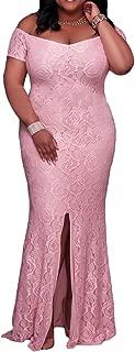 Womens Plus Size Off Shoulder High Slit Floral Maxi Party Evening Long Dress