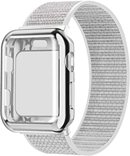JuQBanke Compatible for Apple Watch Band 38mm 40mm 42mm 44mm iWatch Series 5 4 3 2 1 with Screen Protector Case, Sport Weave Strap with Hook and Loop Fastener Replacement Wristband