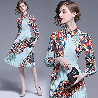 ABDKJAHSDK Autumn New Fashion Lapel Collar Flower Print Pleated Female Dress