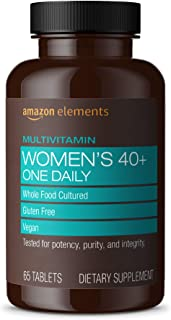 Amazon Elements Women's 40+ One Daily Multivitamin, 66% Whole Food Cultured, Vegan, 65 Tablets, 2 month supply (Packaging ...