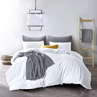 ATsense Duvet Cover Queen, 100% Washed Cotton, Bedding Duvet Cover Set, 3-Piece, Ultra Soft and Easy Care, Simple Style Fa...