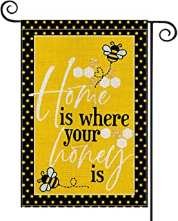 AVOIN Home Is Where Your Honey Is Bee Garden Flag Vertical Double Sized, Summer Holiday Party Yard Outdoor Decoration 12.5...