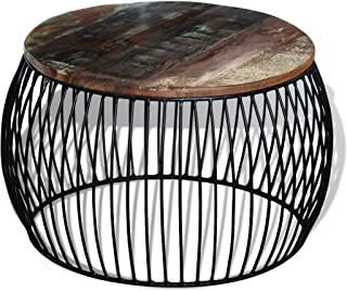 Festnight Round Reclaimed Wood Coffee Table, 26.8