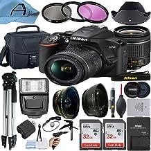 Nikon D3500 DSLR Camera 24.2MP Sensor with NIKKOR 18-55mm f/3.5-5.6G VR Lens, 2 Pack SanDisk 32GB Memory Card, Bag, Tripo...