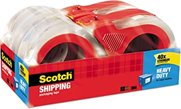 "Scotch Heavy Duty Shipping Tan Packaging Tape, 1.88"" x 54.6 Yards, 3"" Core, Clear, Great for Packing, Shipping & Moving, 1 Roll (3501T)"