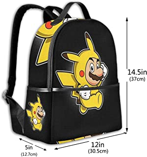 Classic School Backpack Mario Bros Loves Pikachu Unisex College Schoolbag Travel Bookbag Black