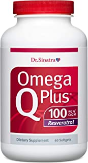 Dr. Sinatra's Omega Q Plus 100 Resveratrol – Omega-3 Supplement Supports Healthy Blood Flow, Blood Pressure, and Provides ...