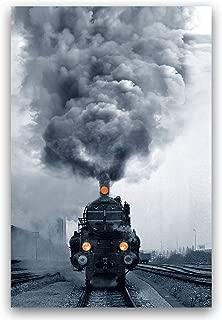Studio 500, Canvas Wall Art - Locomotive Steam Train w/Orange Headlights in Black & White, Global Collection, 32