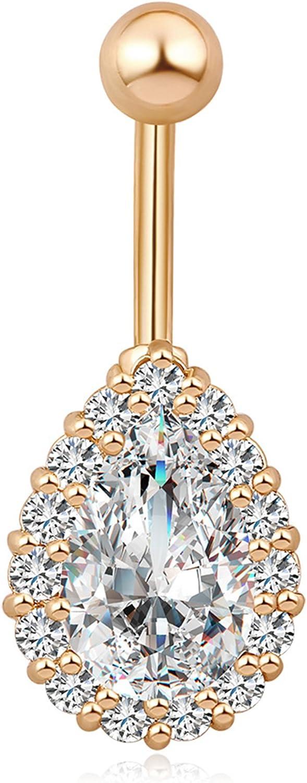 QTALKIE Teardrop Crystal Body Piercing Jewelry Steel Body Dangle Barbell Bar Belly Bellow Button Navel Ring,Gold