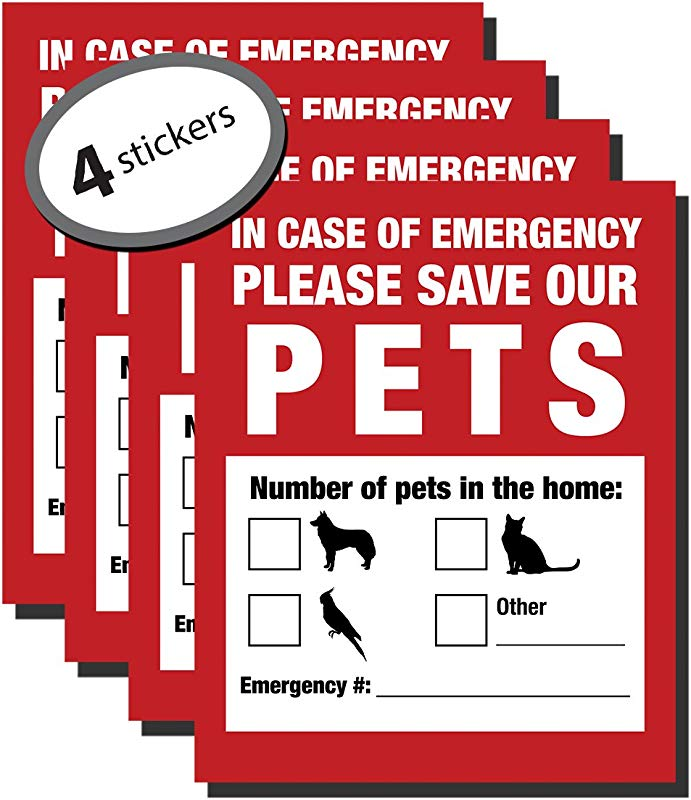 Pet Inside Finder Sticker 4 Pack Adhesive On FRONT And BACK In A Fire Emergency Firefighters Will See Alert On The Window Door Or House And Rescue Your Cat Dog Safety First In Case Of Fire