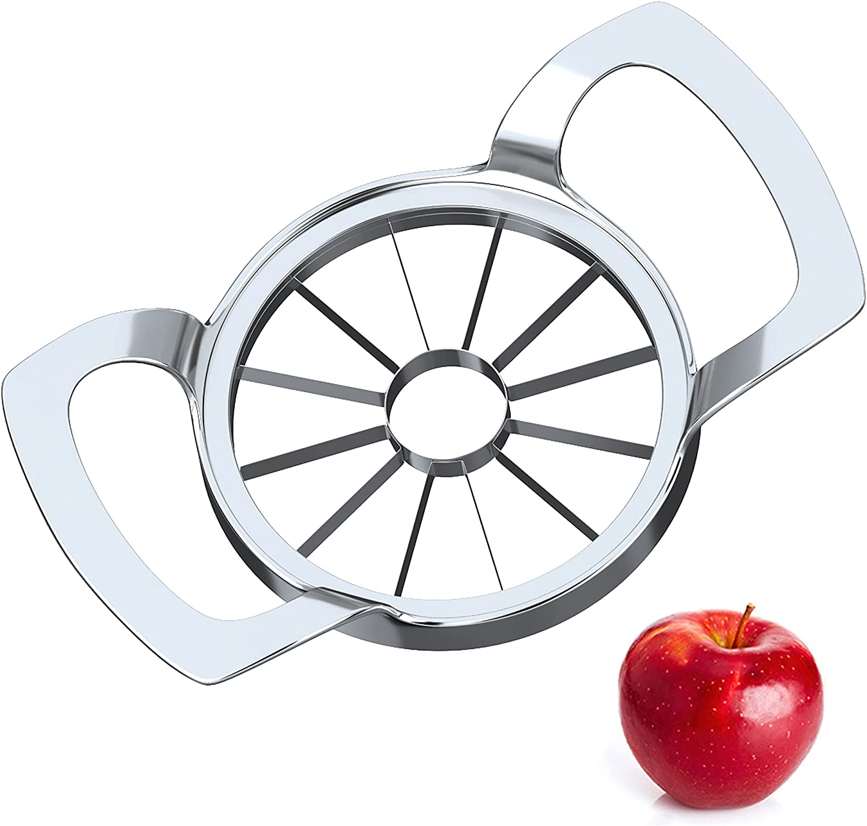 Apple Cutter Upgraded 2021, 12-Blade Apple Slicer Extra Large Apple Corer Peeler, Stainless Steel Ultra-Sharp Fruit Corer & Slicer, Divider, Wedger, Decorer Tool for Up to 4 Inches Apples