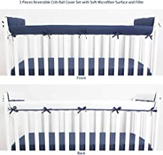 CaSaJa 3 Pieces Reversible Microfiber Crib Rail Cover Set for 1 Front Rail and 2 Side Rails, Soft Batting Inner for Baby Teething Guard, Navy or White, Fits Up to 8 inches Around or 4 inches Folded