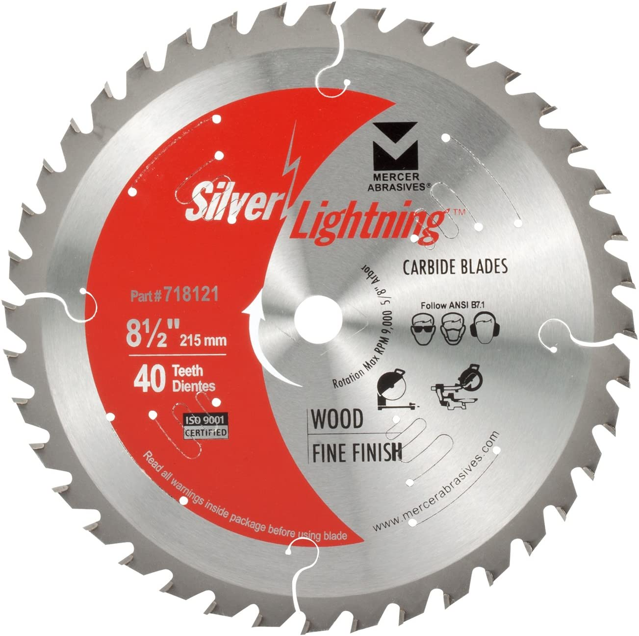Mercer Abrasives 718121 40-Tooth ATB Carbide Cutting Same day 55% OFF shipping Blade Wood