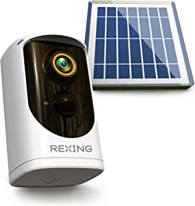 REXING HS01 Smart Home Security Camera System,1080p,Wireless,Rechargeable Battery,Solar Panel,Door Bell Two-Way Intercom,Waterproof,Motion Activated,Infrared Night Vision,Cloud Storage,WiFi,Mobile App