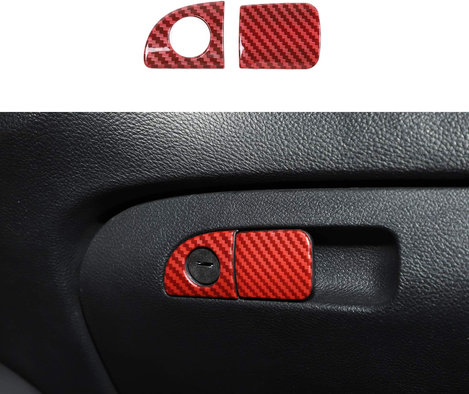 ABS Red//Black Texture 2pcs Voodonala for Challenger Charger Storage Box Door Handle Trim for 2015-2020 Dodge Challenger Charger