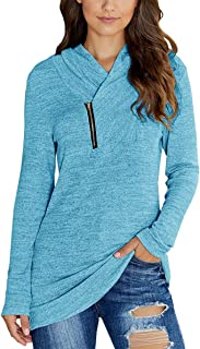 2019 Winter Women's Long Sleeve Pullover Zipper Cowl Neck Tops Solid Sporty Sweatshirts(5 Colors,S-XXL)