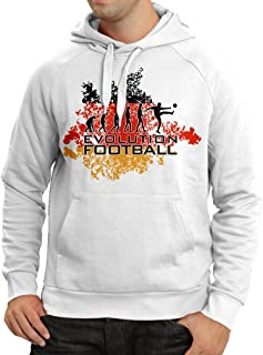 Hoodie Football Evolution - Germany, Russia Championship 2018, World Cup Soccer German Team Fan Shirt (XXX-Large White Multi Color)
