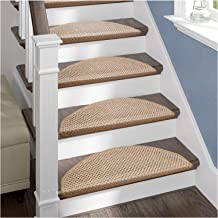 15 Pack Natural Jute Rug Stair Pads, Non Slip Carpet Stair Treads for Safety and Beauty for Staircase Step (Color : A, Siz...