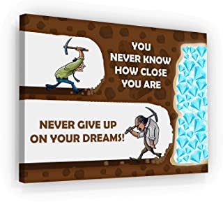 Never Give Up On Your Dreams Motivational Wall Art Canvas Print, Office Decor, Inspiring Framed Prints, Inspirational Entrepreneur Quotes for Wall Art Decoration (12
