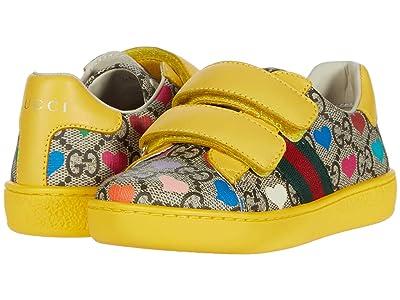 Gucci Kids New Ace V.L. Sneakers (Toddler) (Beige/Ebony/VRV) Girl