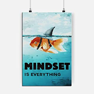 RINWUNS Wall Art Mindset is Everything, Poster Goldfish Shark Canvas Print Inspirational Quote Painting Motivational Moder...