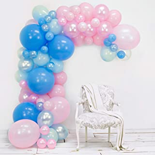Junibel Balloon Arch & Garland Kit | Blue & Pink Pearl & Latex Balloons | Glue Dots & Decorating Strip | Gender Reveal, Wedding, Baby Shower, Graduation, Anniversary Organic Party Decorations