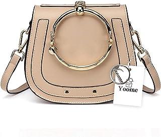 Yoome Elegant Rivets Punk Style Circular Ring Handle Handbags Messenger Crossbody Bags For Girls