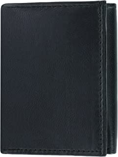 CTM Men's Leather Trifold Wallet with Middle Flap Up, Black