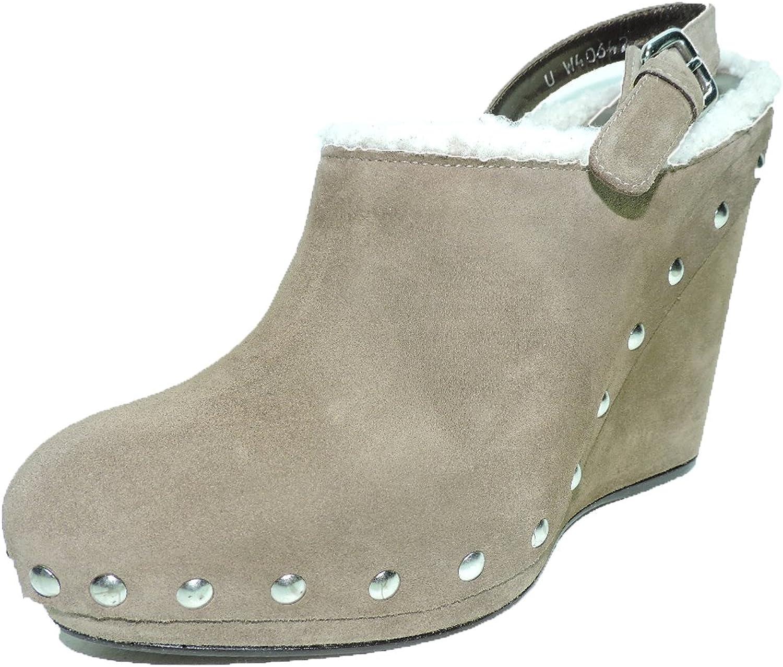 Stuart Weitzman Women's Clogger 5  Heel Taupe Platform Wedge Suede shoes Size 8 AA