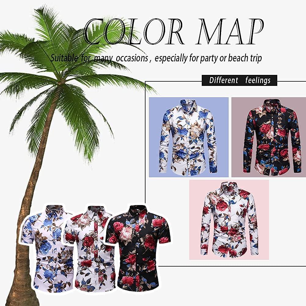 ANNANONER Men's Short Sleeve Floral Print Dress Shirt Beach Hawaiian Button Down Shirt