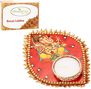 Ghasitaram Gifts Mother's Day Gifts Ganesha Leaf T-Lite with 200 GMS Besan Ladoo