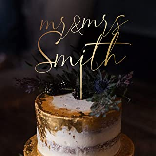 LUXTOMI - تاپر کیک عروسی شخصی - روکش کیک سفارشی برای سالگرد شما (سبک 1 ، طلای فلزی هر دو طرف)