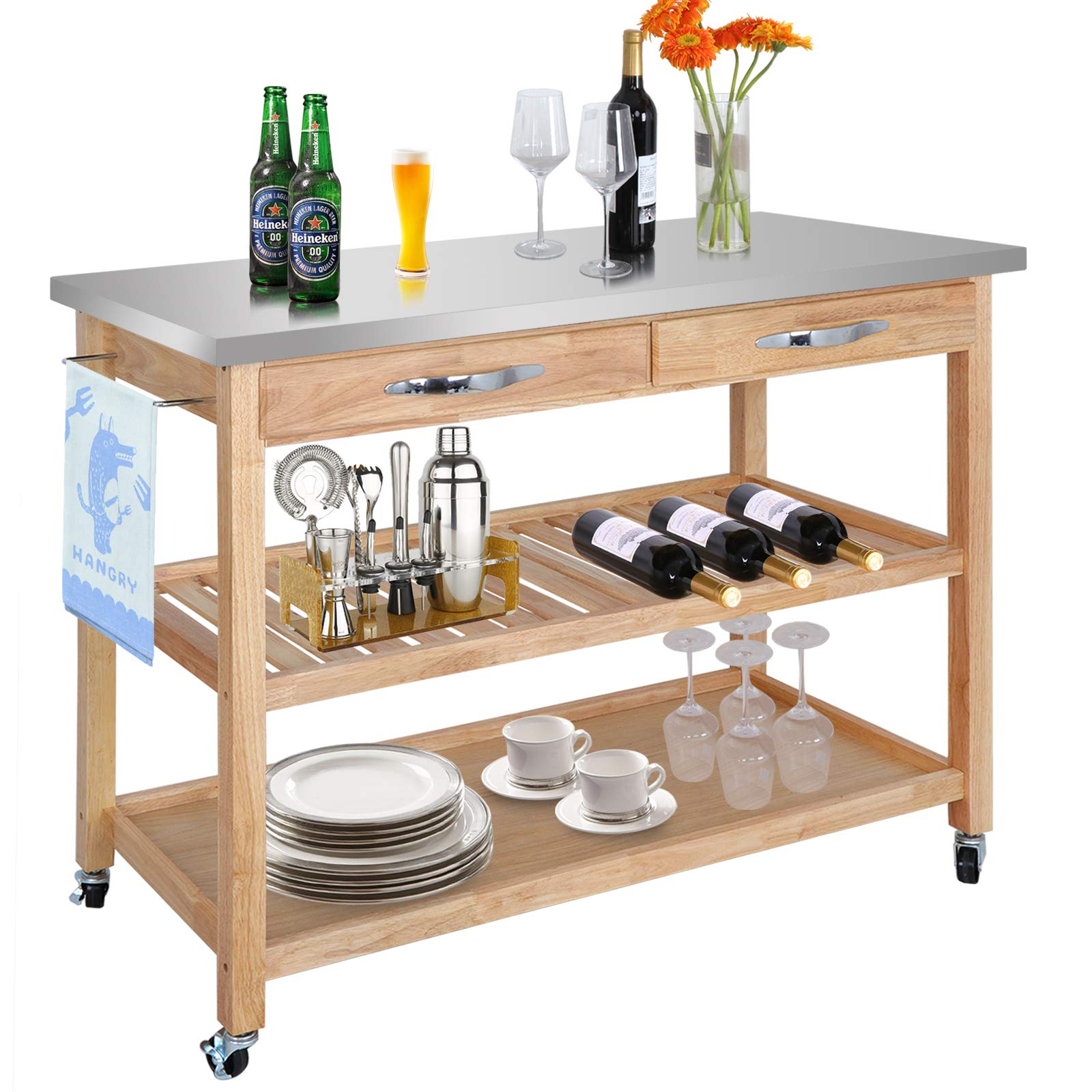 Drawer Major-Q 9098302 Stainless Steel and Gray Finish Wheeled Kitchen Island Cart with Spice Towel and Wine Bottle Rack with Slatted Shelf