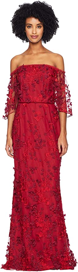 Off the Shoulder Flutter Sleeve Embroidered Gown