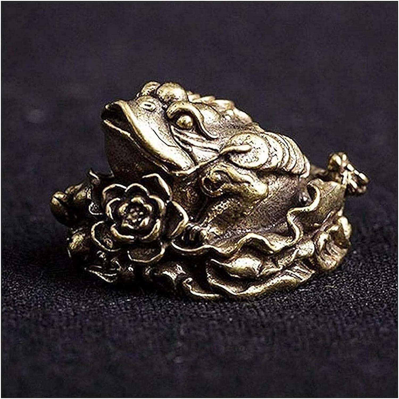 JJDSN Adornos de Escritorio de Escultura de Sapo Dorado de Bronce Hueco, Estatua de Animal de Loto de Sapo de Cobre de Bronce Antiguo, Figuras en Miniatura, Ceremonia del té, Adornos pequeños
