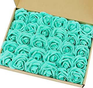 Marry Acting Artificial Flower Rose, 30pcs Real Touch Artificial Roses for DIY Bouquets Wedding Party Baby Shower Home Decor (Mint Green)