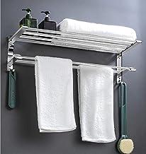 Handdoekenrek, wandgemonteerde doucheplankorganisator, roestvrijstalen handdoekenrek, badkamerplank, dubbele handdoekplank...