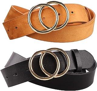 Women's Faux Leather Belts Dress Double Buckle PU Waistband 2 Pieces