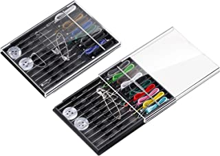 Hestya 2 Boxes (20 Pieces) Pre Threaded Needle Kit Assorted Color (Black)